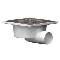 Трап канализационный Ф 50 горизонтальный 100х100 металлическая  решетка