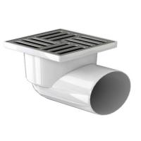 Трап канализационный Ф 110 горизонтальный 150х150 металлическая  решетка