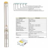 Насос погружной LEO 4XRm4/8-0,55 (кабель 20м, с пусковым блоком), напор 54м, 6 куб.м/час