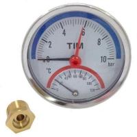 Термоманометр аксиальный TIM 0-10 bar 120C D80 mm