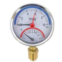 Термоманометр радиальный TIM 0-10 bar 120C D80 mm