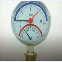 Термоманометр радиальный TIM 0-16 bar 120C D80 mm